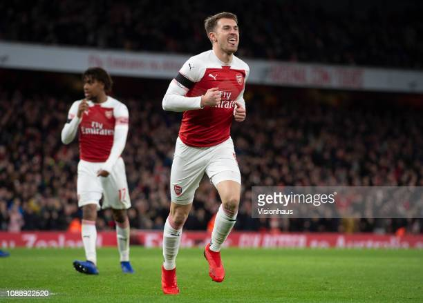 Aaron Ramsey of Arsenal celebrates his goal during the Premier League match between Arsenal FC and Fulham FC at Emirates Stadium on January 1 2019 in...