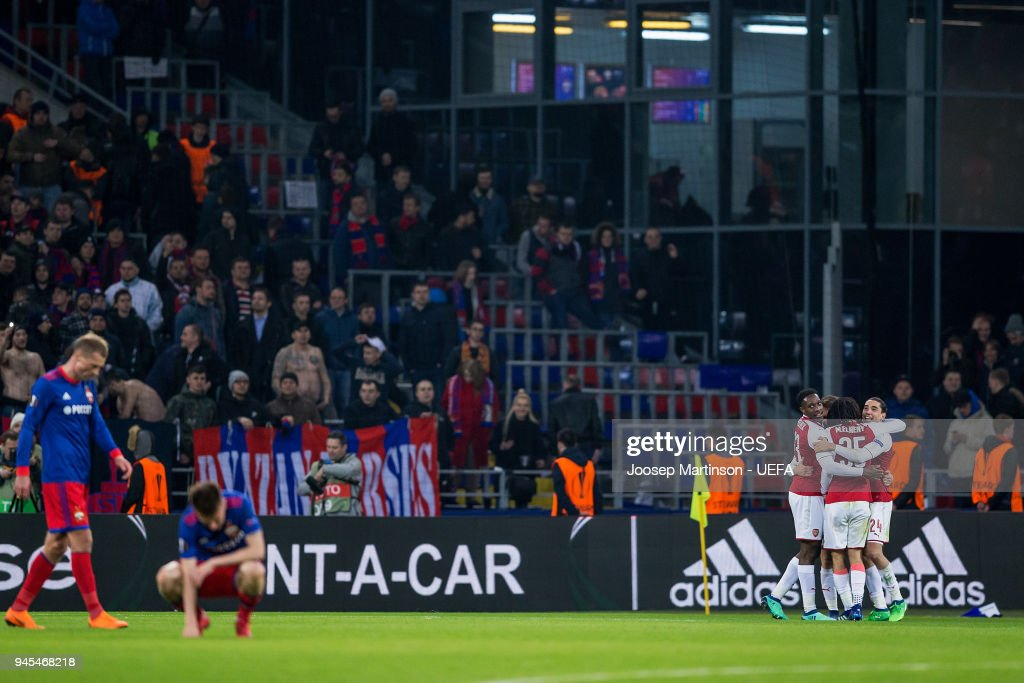 Aaron Ramsey of Arsenal celebrates his goal with team mates during the UEFA Europa League quarter final leg two match between CSKA Moskva and Arsenal FC at CSKA Arena on April 12, 2018 in Moscow, Russia.