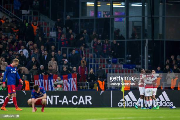 Aaron Ramsey of Arsenal celebrates his goal with team mates during the UEFA Europa League quarter final leg two match between CSKA Moskva and Arsenal...
