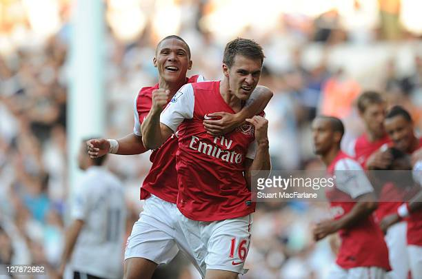 Aaron Ramsey of Arsenal celebrates hsi goal with Kieran Gibbs ¤during the Barclays Premier League match between Tottenham Hotspur and Arsenal at...