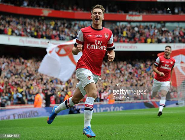 Aaron Ramsey of Arsenal celebrates scoring a goal during the Barclays Premier League match between Arsenal and Stoke City at Emirates Stadium on...