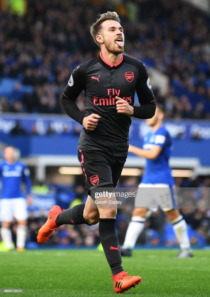 Aaron Ramsey of Arsenal celebrates scoring his sides fourth goal during the Premier League match between Everton and Arsenal at Goodison Park on October 22, 2017 in Liverpool, England.