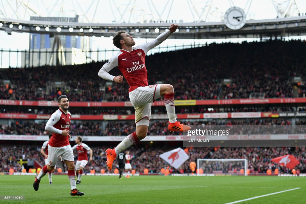 Aaron Ramsey of Arsenal celebrates scoring his sides second goal during the Premier League match between Arsenal and Swansea City at Emirates Stadium on October 28, 2017 in London, England.