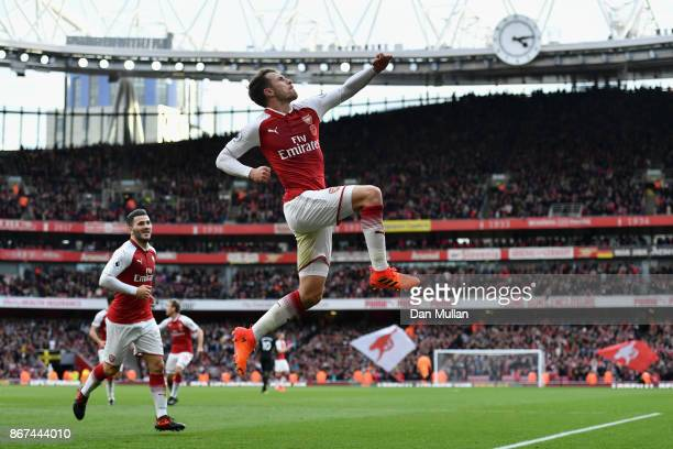 Aaron Ramsey of Arsenal celebrates scoring his sides second goal during the Premier League match between Arsenal and Swansea City at Emirates Stadium...