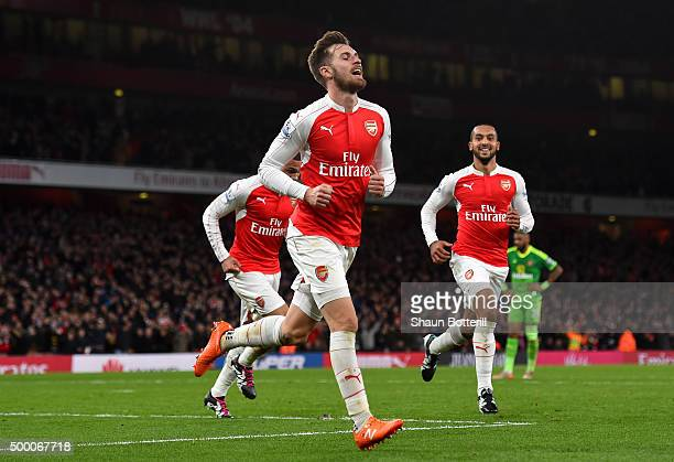 Aaron Ramsey of Arsenal celebrates scoring his team's third goal during the Barclays Premier League match between Arsenal and Sunderland at Emirates...