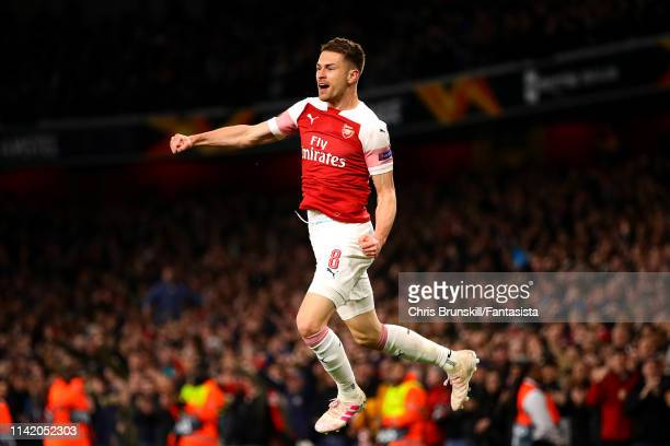 Aaron Ramsey of Arsenal celebrates scoring the opening goal during the UEFA Europa League Quarter Final First Leg match between Arsenal and SSC...