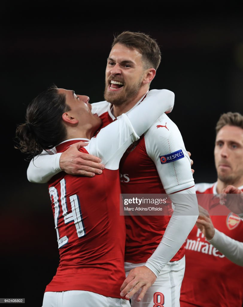 Aaron Ramsey of Arsenal celebrates scoring the opening goal with Hector Bellerin during the UEFA Europa League quarter final leg one match between Arsenal FC and CSKA Moskva at Emirates Stadium on April 5, 2018 in London, United Kingdom.
