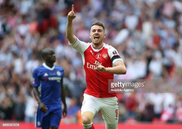 Aaron Ramsey of Arsenal celebrates the second goal for the team during the FA Cup final match between Arsenal FC and Chelsea FC at Wembley Stadium on...