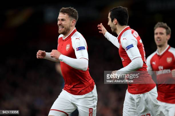 Aaron Ramsey of Arsenal celebrates with Henrikh Mkhitaryan during the UEFA Europa League quarter final leg one match between Arsenal FC and CSKA...