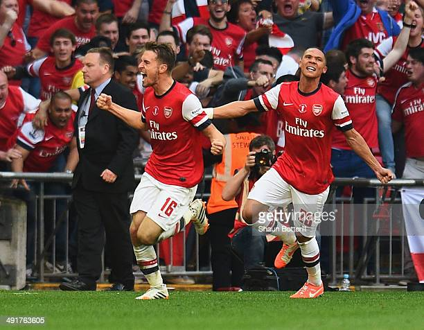 Aaron Ramsey of Arsenal celebrates with Kieran Gibbs as he scores their third goal during the FA Cup with Budweiser Final match between Arsenal and...