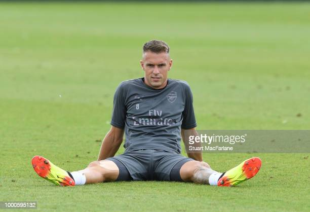 PierreEmerick Aubameyang of Arsenal during a training session at London Colney on July 17 2018 in St Albans England