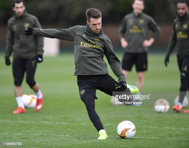 Aaron Ramsey of Arsenal during a training session at London Colney on March 13 2019 in St Albans England