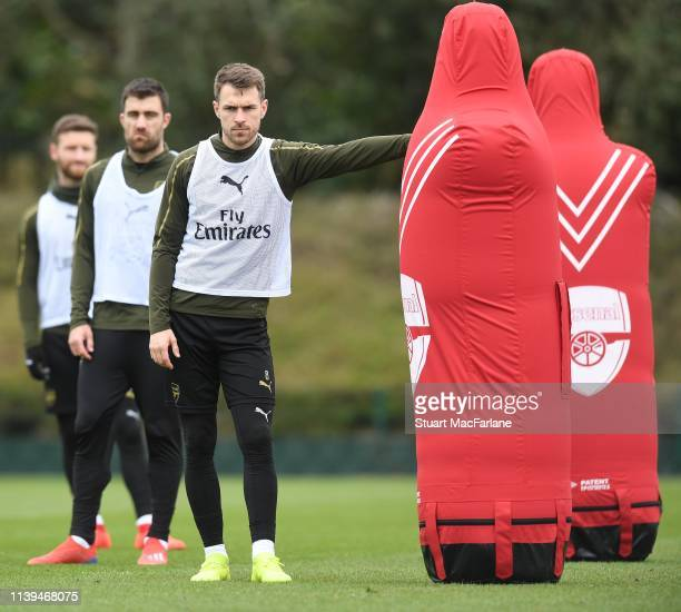 Aaron Ramsey of Arsenal during a training session at London Colney on March 30 2019 in St Albans England