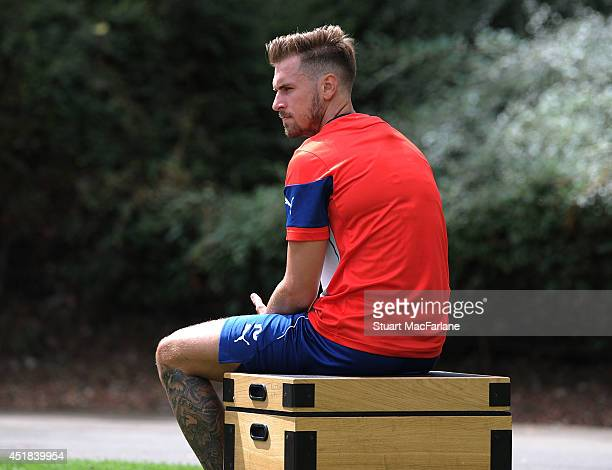 Aaron Ramsey of Arsenal during a training session at London Colney on July 8 2014 in St Albans England