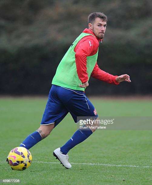 Aaron Ramsey of Arsenal during a training session at London Colney on November 28 2014 in St Albans England
