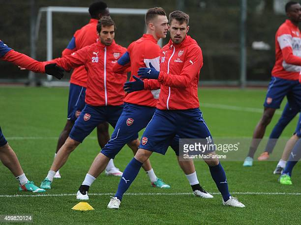 Aaron Ramsey of Arsenal during a training session at London Colney on December 2 2014 in St Albans England