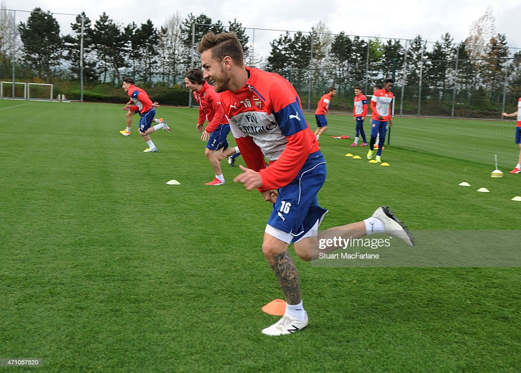 Aaron Ramsey of Arsenal during a training session at London Colney on April 25, 2015 in St Albans, England.