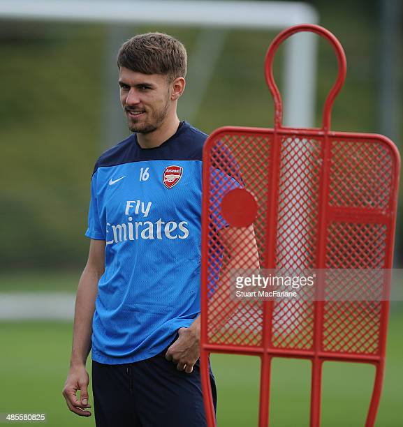 Aaron Ramsey of Arsenal during a training session at London Colney on April 19 2014 in St Albans England