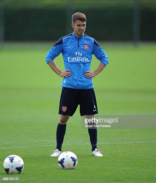 Aaron Ramsey of Arsenal during a training session at London Colney on May 10 2014 in St Albans England