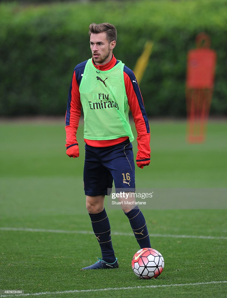 Aaron Ramsey of Arsenal during a training session at London Colney on October 16, 2015 in St Albans, England.