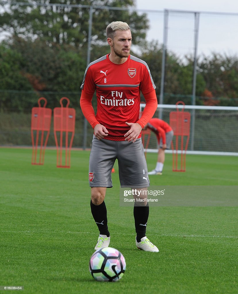 Aaron Ramsey of Arsenal during a training session at London Colney on October 21, 2016 in St Albans, England.