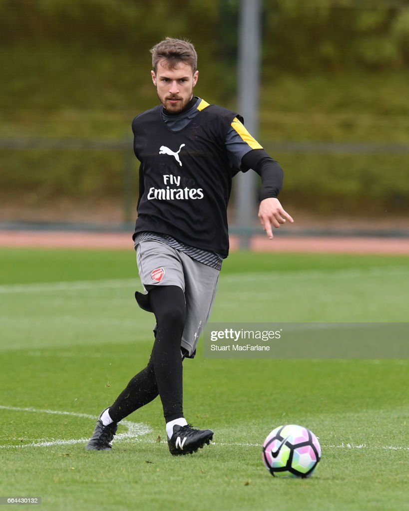 Aaron Ramsey of Arsenal during a training session at London Colney on April 4, 2017 in St Albans, England.