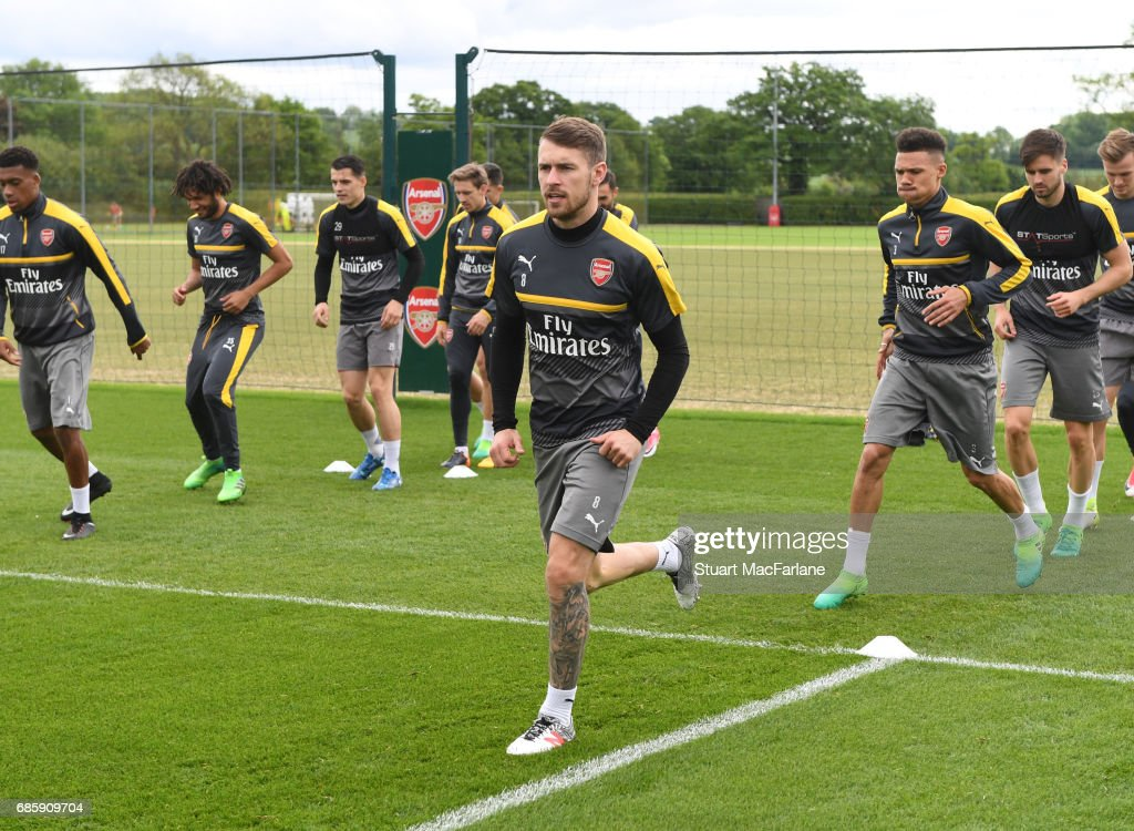 Aaron Ramsey of Arsenal during a training session at London Colney on May 20, 2017 in St Albans, England.