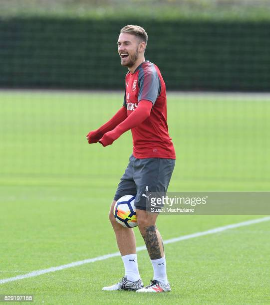 Aaron Ramsey of Arsenal during a training session at London Colney on August 10 2017 in St Albans England