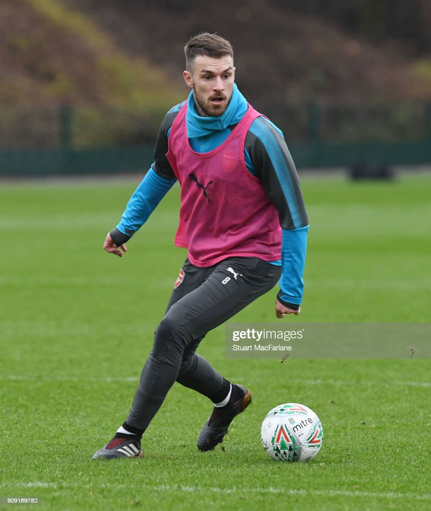Aaron Ramsey of Arsenal during a training session at London Colney on January 23, 2018 in St Albans, England.