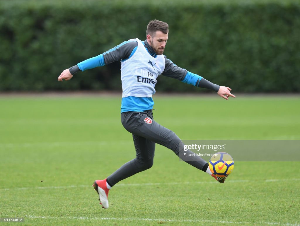 Aaron Ramsey of Arsenal during a training session at London Colney on January 29, 2018 in St Albans, England.