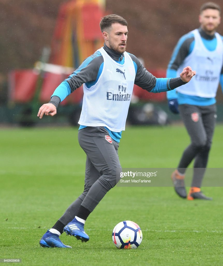 Aaron Ramsey of Arsenal during a training session at London Colney on March 31, 2018 in St Albans, England.
