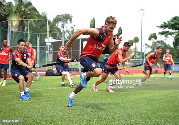 Aaron Ramsey of Arsenal during a training session at the Singapore American School on July 14 2015 in Singapore