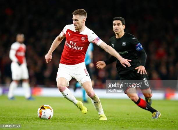 Aaron Ramsey of Arsenal during Europa League Round of 16 2nd Leg between Arsenal and Rennes at Emirates stadium London England on 14 Mar 2019