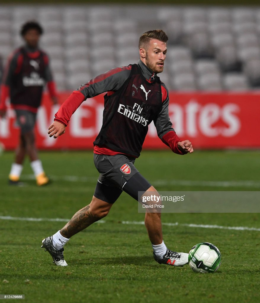 Aaron Ramsey of Arsenal during the Arsenal Training Session at Koragah Oval on July 11, 2017 in Sydney, Australia.