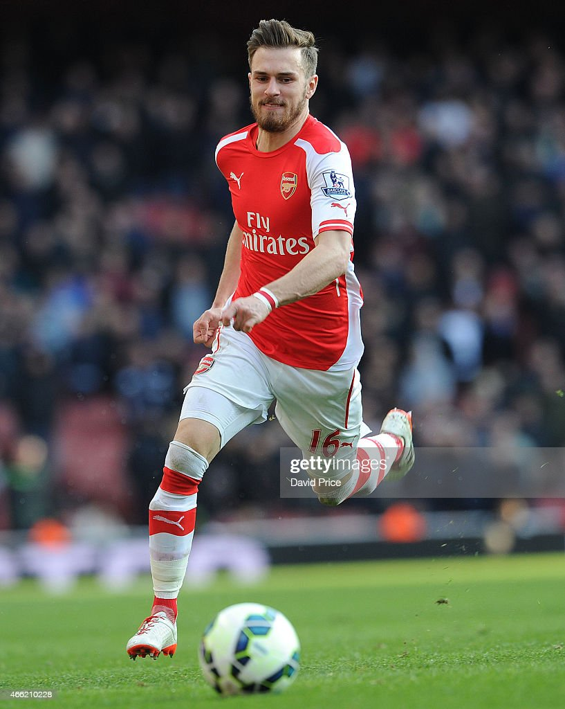 Aaron Ramsey of Arsenal during the match between Arsenal and West Ham United in the Barclays Premier League at Emirates Stadium on March 14, 2015 in London, England.