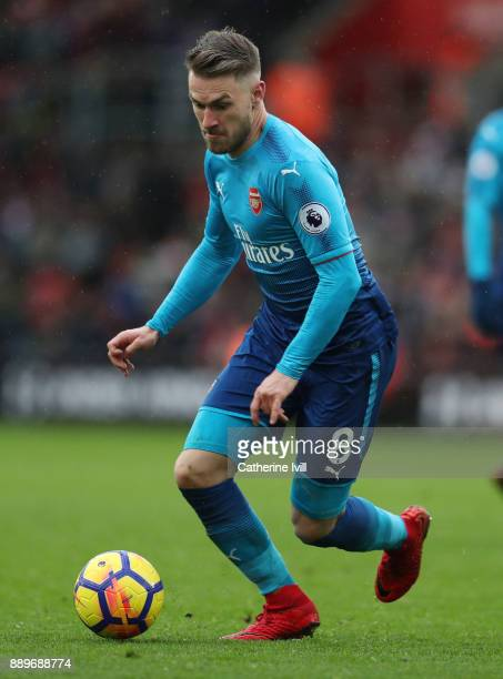 Aaron Ramsey of Arsenal during the Premier League match between Southampton and Arsenal at St Mary's Stadium on December 10 2017 in Southampton...