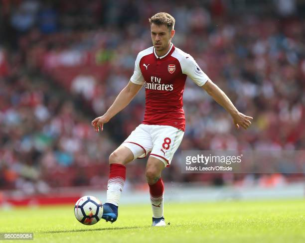 Aaron Ramsey of Arsenal during the Premier League match between Arsenal and West Ham United at Emirates Stadium on April 22 2018 in London England