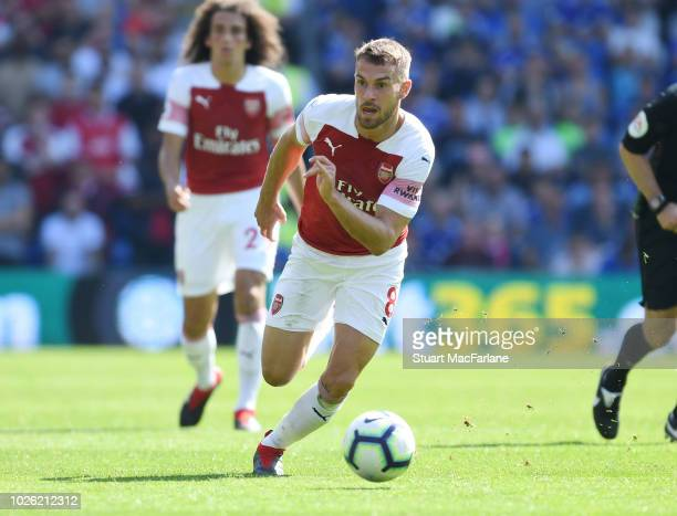 Aaron Ramsey of Arsenal during the Premier League match between Cardiff City and Arsenal at Cardiff City Stadium on September 2 2018 in Cardiff...