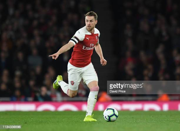 Aaron Ramsey of Arsenal during the Premier League match between Arsenal FC and Newcastle United at Emirates Stadium on April 1 2019 in London United...