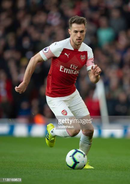 Aaron Ramsey of Arsenal during the Premier League match between Arsenal FC and Manchester United at Emirates Stadium on March 10 2019 in London...
