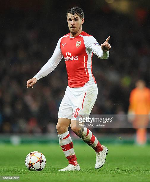 Aaron Ramsey of Arsenal during the UEFA Champions League Group D match between Arsenal and Anderlecht at Emirates Stadium on November 4 2014 in...