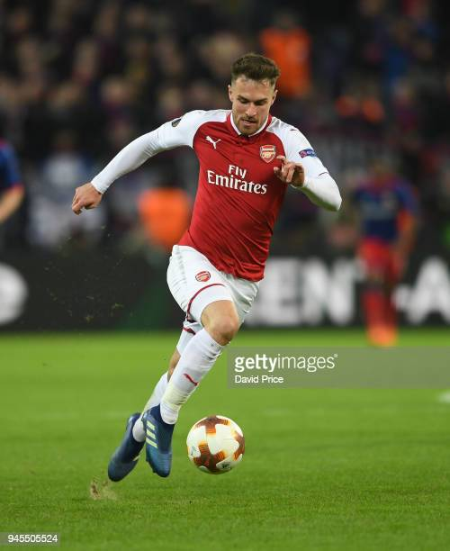 Aaron Ramsey of Arsenal during the UEFA Europa League quarter final leg two match between CSKA Moskva and Arsenal FC at on April 12 2018 in Moscow...