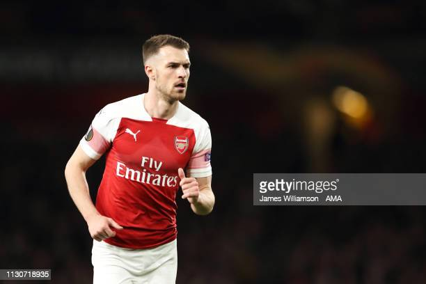 Aaron Ramsey of Arsenal during the UEFA Europa League Round of 16 Second Leg match between Arsenal and Stade Rennais at Emirates Stadium on March 14...