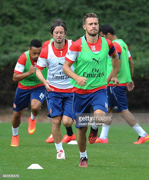 Aaron Ramsey of Arsenal in action during a training sesion at London Colney on July 18 2014 in St Albans England