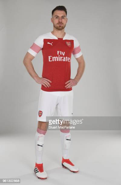Aaron Ramsey of Arsenal in the new home kit for season 201819 on March 16 2018 in St Albans England