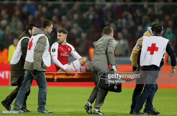 Aaron Ramsey of Arsenal is stretchered from the pitch during the UEFA Europa League quarter final leg two match between PFC CSKA Moskva and Arsenal...