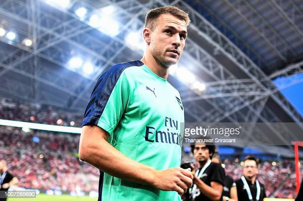 Aaron Ramsey of Arsenal looks during the International Champions Cup match between Arsenal and Paris Saint Germain at the National Stadium on July 28...