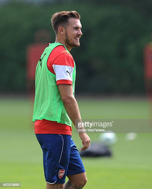 Aaron Ramsey of Arsenal looks on during a training sesion at London Colney on July 18 2014 in St Albans England