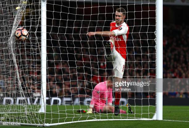 Aaron Ramsey of Arsenal scores his sides fifth goal during The Emirates FA Cup QuarterFinal match between Arsenal and Lincoln City at Emirates...