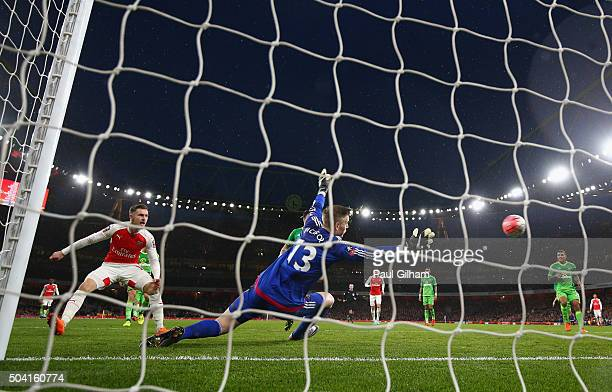 Aaron Ramsey of Arsenal scores the second goal for Arsenal during the Emirates FA Cup Third Round match bewtween Arsenal and Sunderland at Emirates...